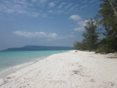 White long beach on the westside of Koh Rong Cambodia