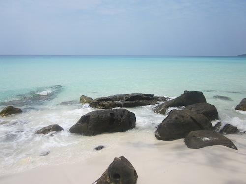 pristine white beaches and turquoise water on Koh Rong Island in Cambodia