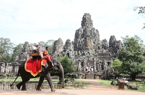 Elephant Ride around Bayon Temple at Angkor Thom Siem Reap Cambodia