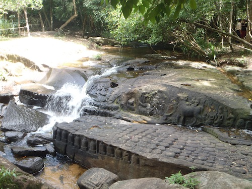 carvings in the river of 1000 lingas at Kbal Spien in Siem Reap Cambodia