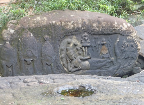 carvings at Kbal Spean in Siem Reap Cambodia