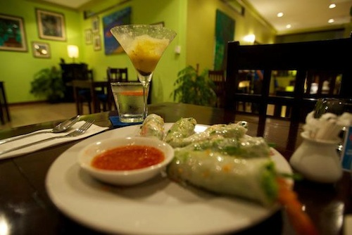 Fresh Springrolls at Sandan Restaurant in Sihanoukville Cambodia