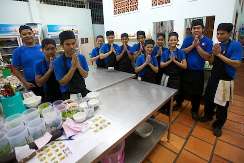 Students at the Sandan Training Restaurant in Sihanoukville Cambodia