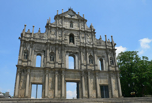 Remains of St Pauls Cathedral in Macau