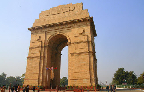 The India Gate at the East part of Rajpath