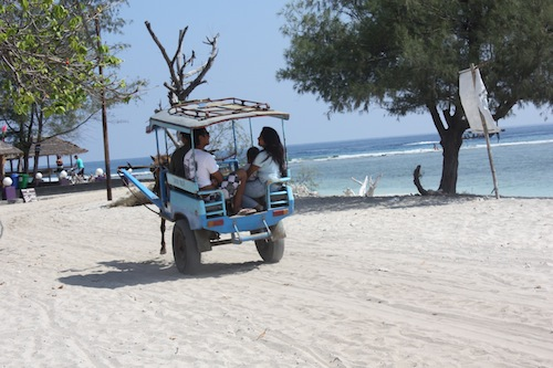 Cidomos local horse carts on Gili Trawangan Indonesia