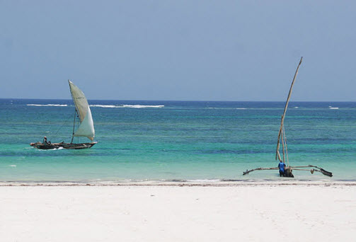 Kenya Diani Beach - Boats on the beach