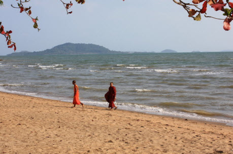 Buddhist monks on Kep Beach