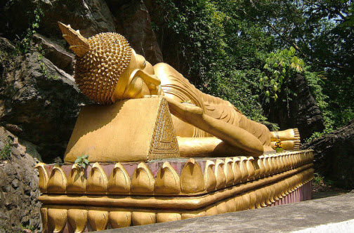 Reclining Buddha at Phu Si mountain Luang Prabang