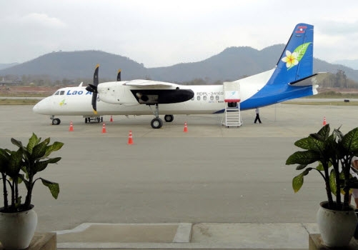Laos Airlines plane waiting to go to Chiang Mai