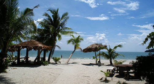 Cenang Beach on Langkawi Malaysia nice white sand and blue water - travel advice and travel info