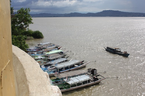 Boats on the Ayeyarwady River at the Bupaya Bagan Myanmar