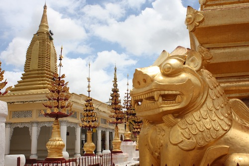 Lion statue at the Shwezigon Pagoda in Bagan Myanmar