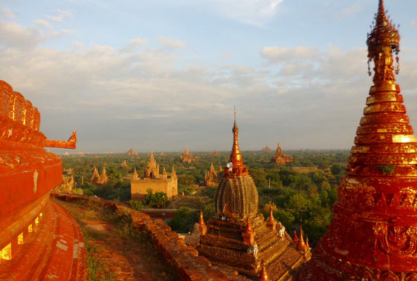 Temples at Bagan at sunset in Myanmar