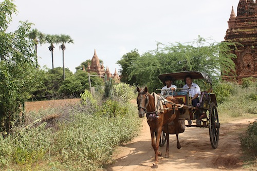 Horse Carts in Bagan in Mynamar