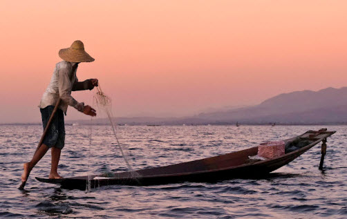 Typical fisherman at Inle Lake Myanmar