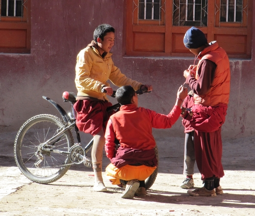 Young monks in the temple area of Lo Manthang
