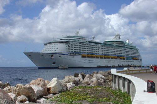 Cruise ship in port Curacao