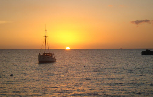 Sunset at the St Michiels Bay in Curacao