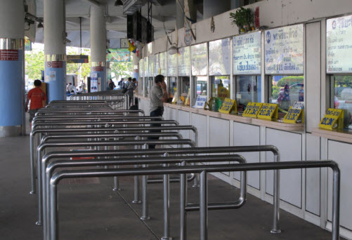 The ticket boots at the Mo Chit Northern bus station Bangkok