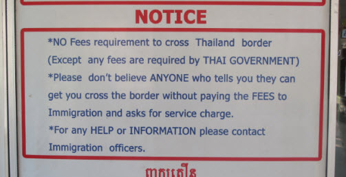Sign at the Thai side of the border