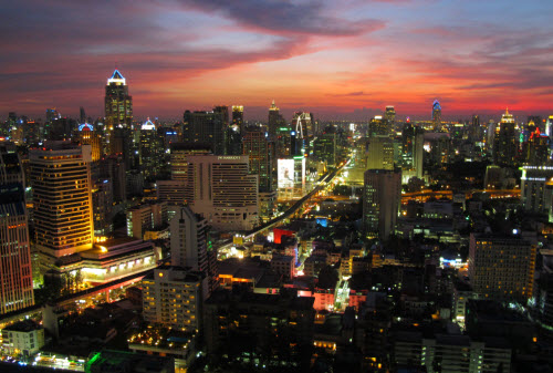 the skyline of bangkok at sunset around sukhumvit area in Bangkok