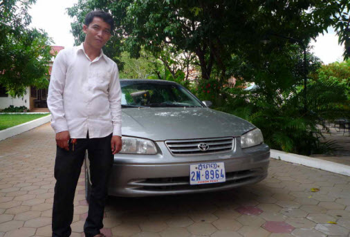 One of the taxi drivers in Cambodia from Poipet to Siem Reap