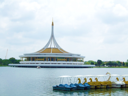 Suan Luang Rama IX Park peddle boats and museum
