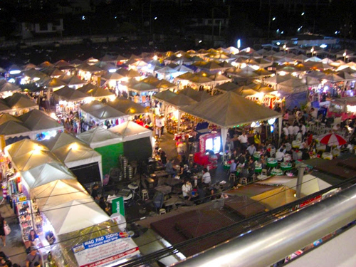 The night market and beer garden in On Nut Bangkok