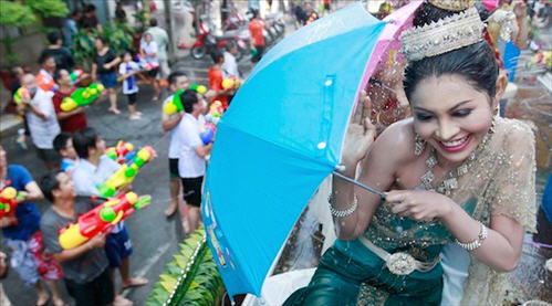 photo of the songkran or Thai new year in Bangkok Thailand