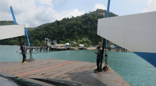Arriving on Koh Chang with the ferry