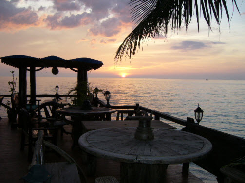 Sunset at Rock Sand Restaurant on Koh Chang