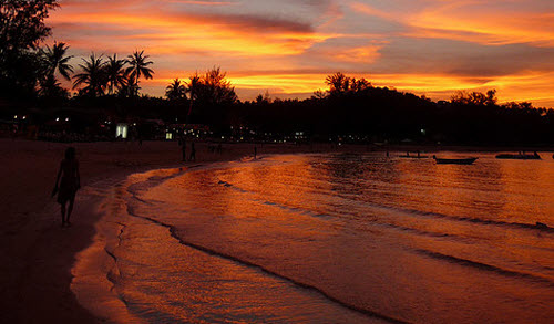 sunset at Choeng Mon Beach on Koh samui island
