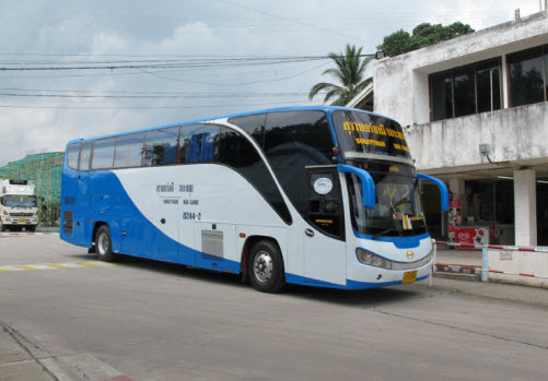 The public bus arriving at the Raja Ferry Pier