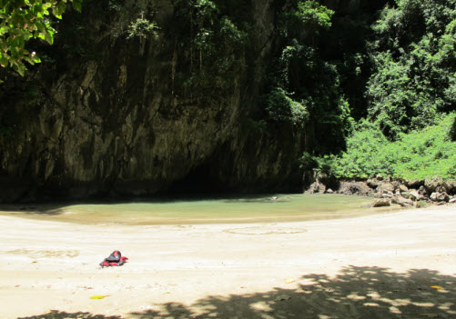 The exit of the emerald cave as seen from the beach
