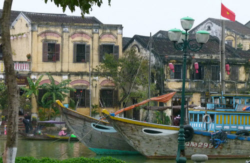 Old Colonial buildings on the Thu Bon River